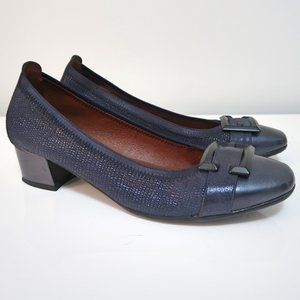 Hispanitas Metallic Dark Blue Block Heels Shoes